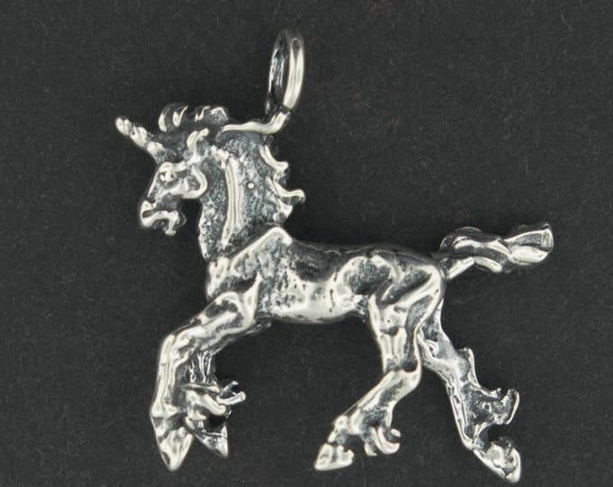 3D Unicorn Charm in Sterling Silver or Antique Bronze