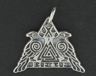 Valknut Warrior Pendant in Sterling Silver or Antique Bronze