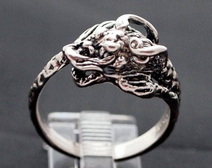 Chinese Dragon Ring in Sterling Silver or Antique Bronze