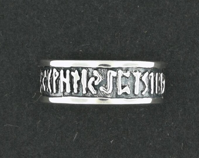 Norse Rune Band in Sterling Silver or Antique Bronze