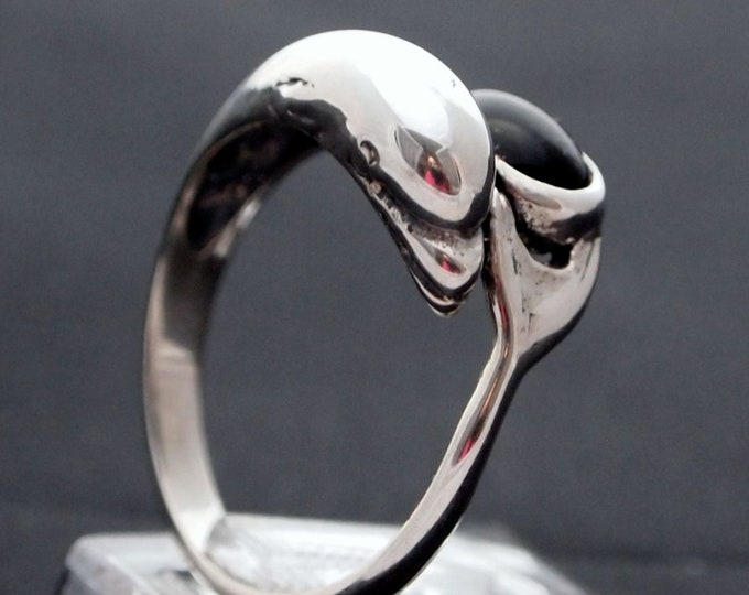 Dolphin Ring in Sterling Silver with 6x8mm Carnelian Stone