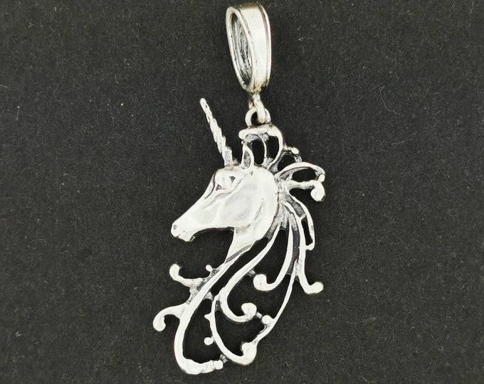 Unicorn Head Pendant in Sterling Silver or Antique Bronze