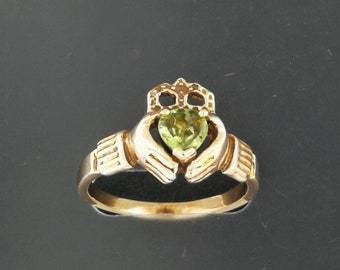Antique Bronze Claddagh Ring with Birthstone Heart
