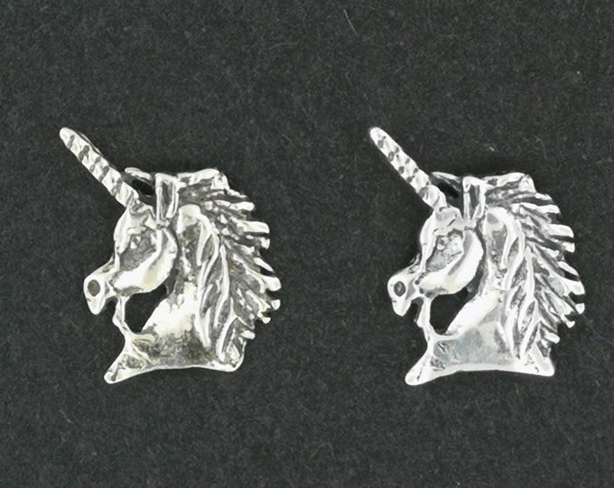 Unicorn Head Earrings in Sterling Silver