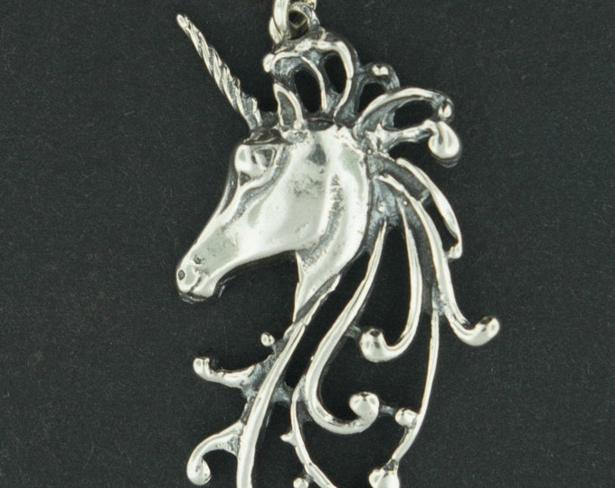 Unicorn Head Pendant in Sterling Silver or Antique Bronze