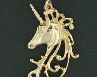 Unicorn Head Pendant in Antique Bronze