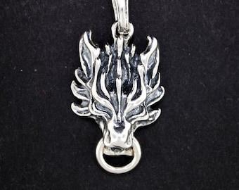 Final Fantasy 7 Fenrir Wolf Pendant in Sterling Silver