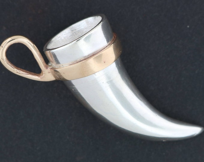 Sterling Silver and Antique Bronze Viking Drinking Horn Pendant