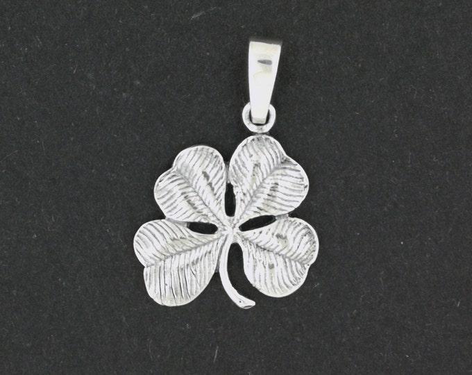 Large Four-Leaf Clover Pendant in Sterling Silver or Antique Bronze