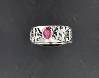 Sterling Silver Knotwork Dragon Band  with Oval Birthstone