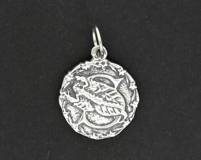 Zodiac Medallion Scorpio in Sterling Silver or Antique Bronze