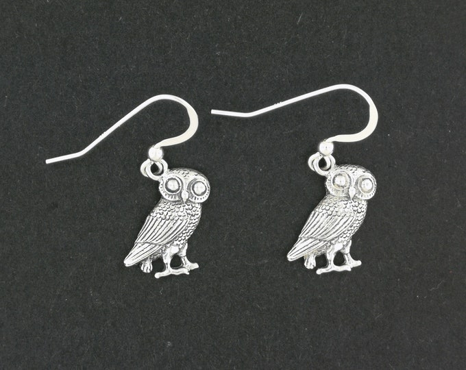 Hellenic Owl Earrings in Sterling Silver or Antique Bronze