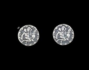 Sterling Silver Zodiac Stud Earrings Aquarius