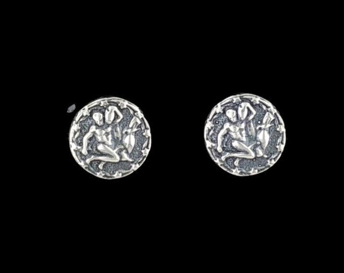 Sterling Silver Zodiac Stud Earrings Aquarius