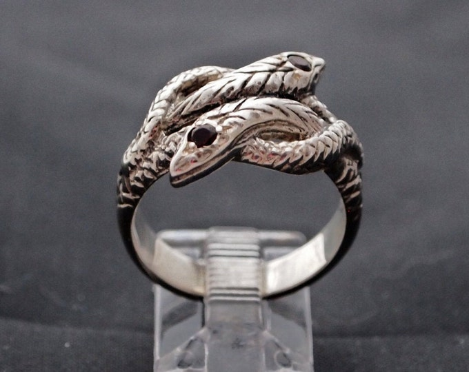 Coiled Twin Snake Ring with Gemstones in Sterling Silver