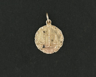 Zodiac Medallion Libra in Antique Bronze