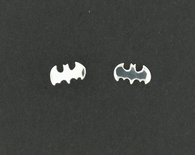Handmade Batman Stud Earrings in Sterling Silver