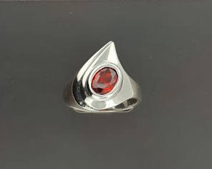 Abstract Style Sterling Silver Ring with Faceted Birthstone