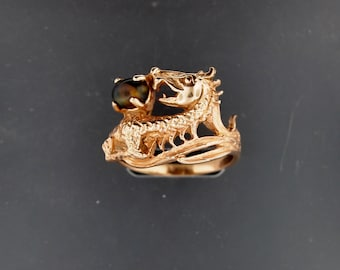 Dragon Ring with Stone in Antique Bronze