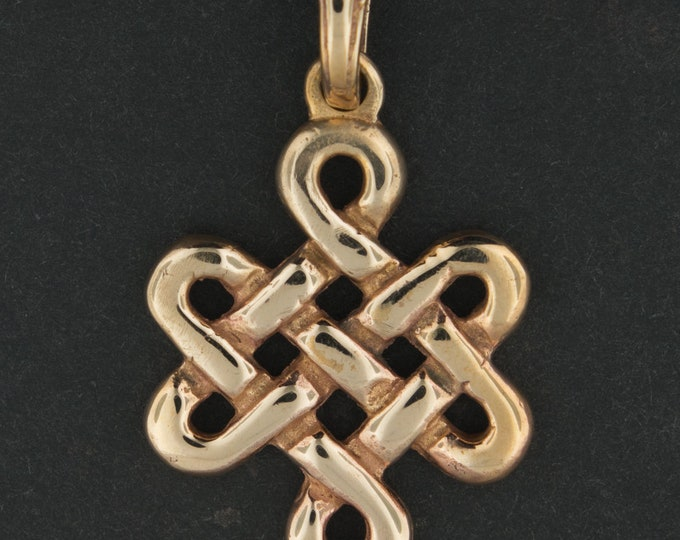 Large Endless Knot Pendant in Antique Bronze