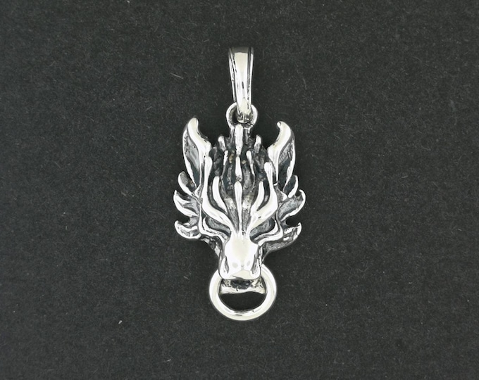Final Fantasy 7 Fenrir Wolf Pendant in Sterling Silver and Bronze