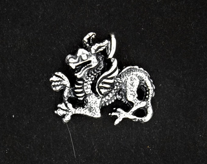 Medieval Dragon Charm in Sterling Silver or Antique Bronze