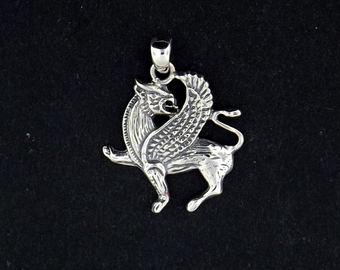 Griffin Pendant in Sterling Silver or Antique Bronze