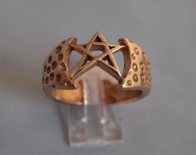 Mens Pentagram Ring in Antique Bronze
