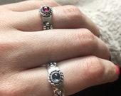 Howls Calcifer Fire Band in Sterling Silver, Gemstone Flower Band, Birthstone Flower Ring