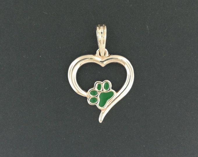 Heart and Paw Print Pendant in Antique Bronze