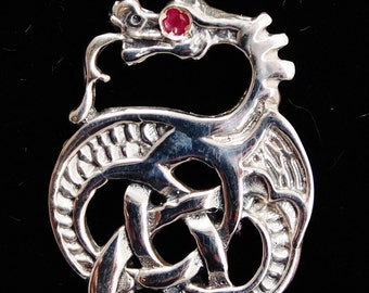 Celtic Knotwork Dragon With Ruby Eye in Sterling Silver