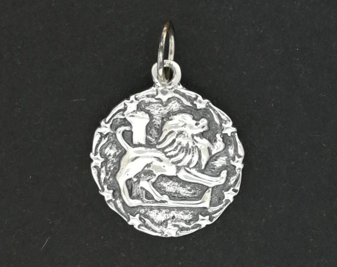 Zodiac Medallion Leo in Sterling Silver or Antique Bronze