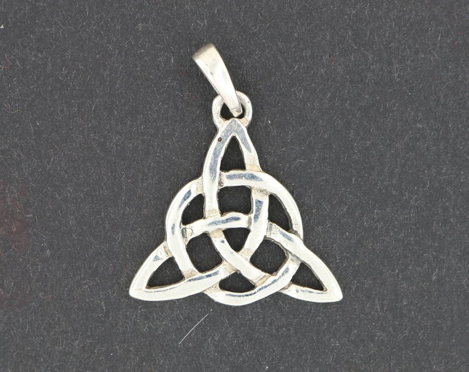 Small Triquetra Pendant in Sterling Silver or Antique Bronze