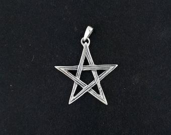 Lined Pentagram Pendant in Sterling Silver