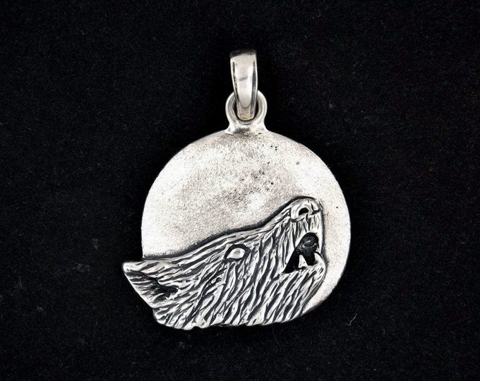Howling Wolf and Moon Pendant in Sterling Silver or Antique Bronze