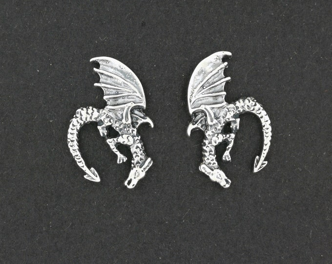 Diving Dragon Stud Earrings in Sterling Silver