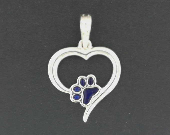 Heart and Paw Print Pendant in Sterling Silver or Antique Bronze