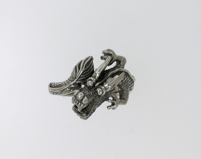 Asian Dragon Ring in Stainless Steel