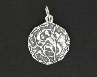 Zodiac Medallion Sagittarius in Sterling Silver