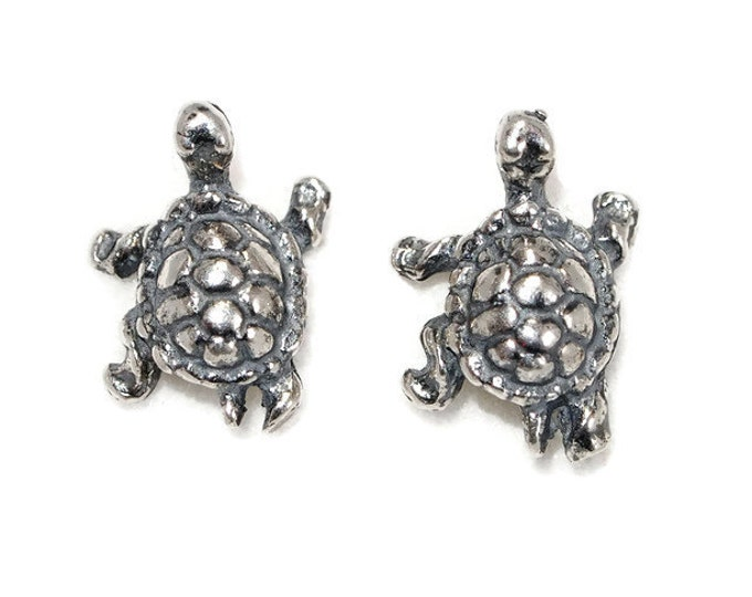Turtle Earrings in Sterling Silver