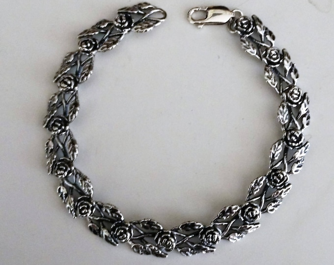 Rose Link Bracelet in Sterling Silver made to order