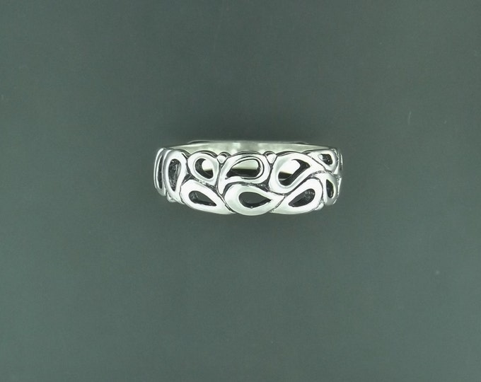 1950's Style Wedding Band in Sterling Silver