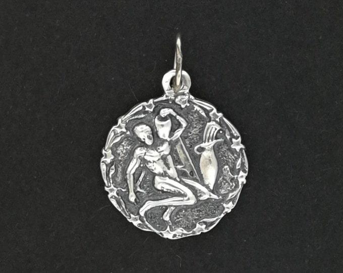Zodiac Medallion Aquarius in Sterling Silver or Antique Bronze