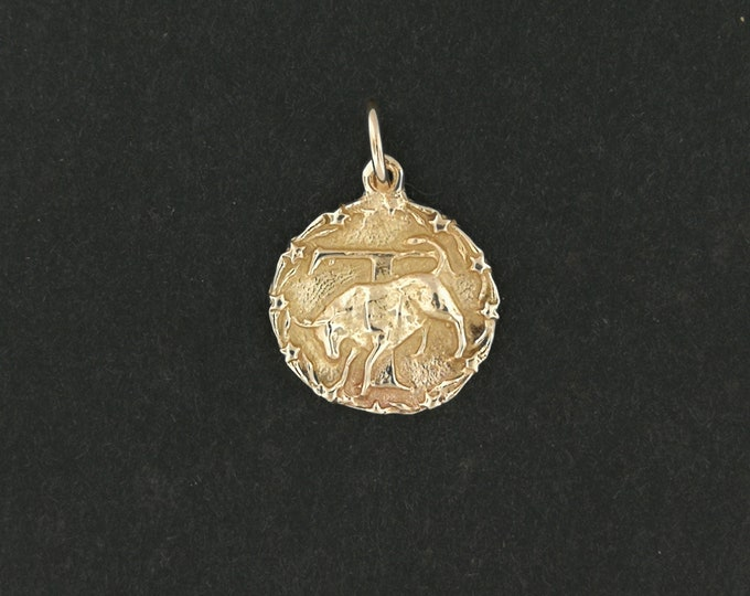 Zodiac Medallion Taurus in Antique Bronze