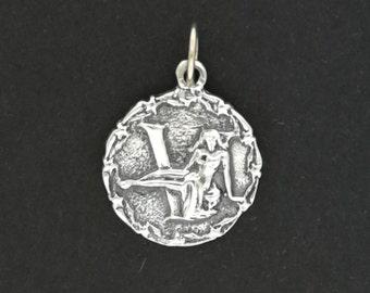 Zodiac Medallion Virgo in Sterling Silver or Antique Bronze