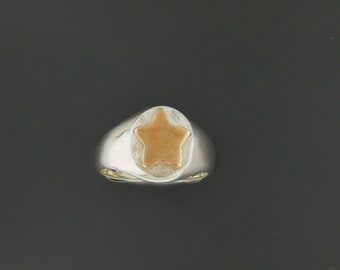 Two Tone Star Signet Ring in Sterling Silver with Bronze Star
