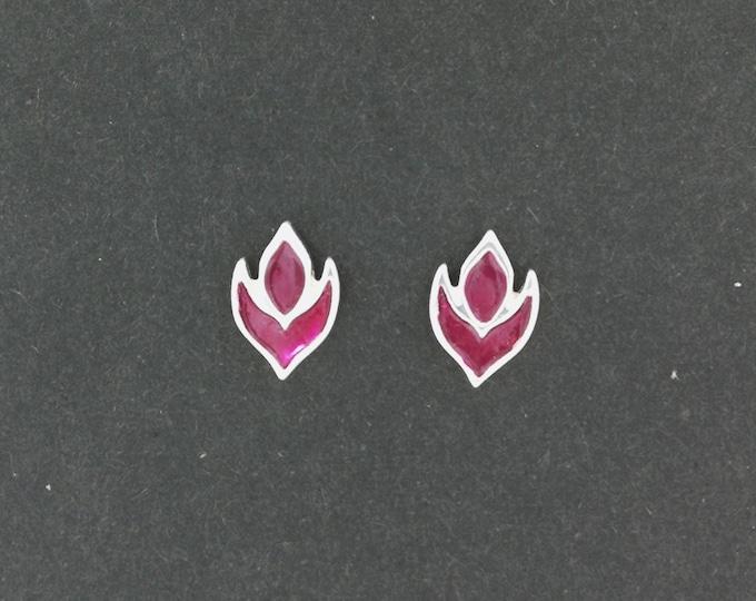 Purple Flame Stud Earrings in Sterling Silver and Enamel