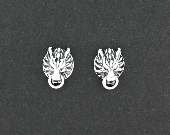 Final Fantasy 7 Fenrir Wolf Stud Earrings  in Sterling Silver