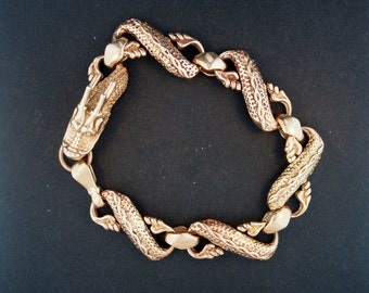Mens Chinese Dragon Braclet in Antique Bronze