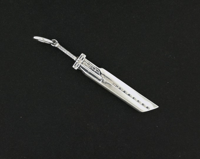 Final Fantasy 7 Advent Children Buster Sword Pendant in Sterling Silver or Antique Bronze